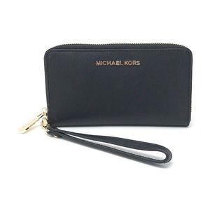 MICHAEL KORS saffiano leather wristlet wallet